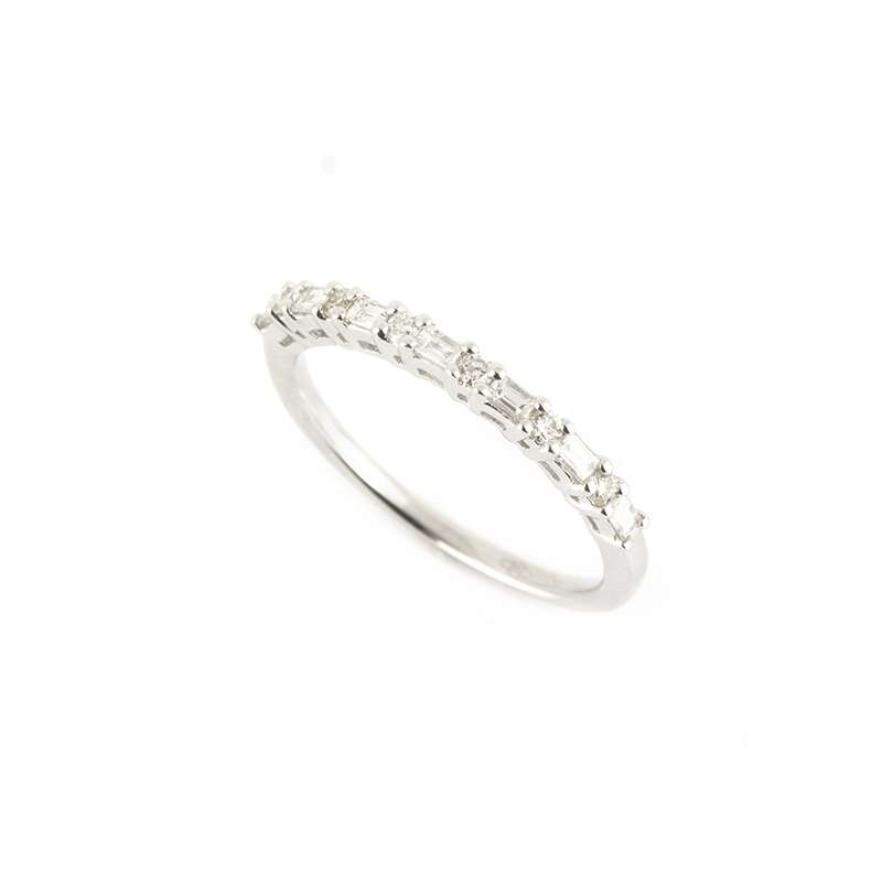 18k White Gold Baguette and Round Brilliant Cut Diamond Half Eternity Ring 0.32ct